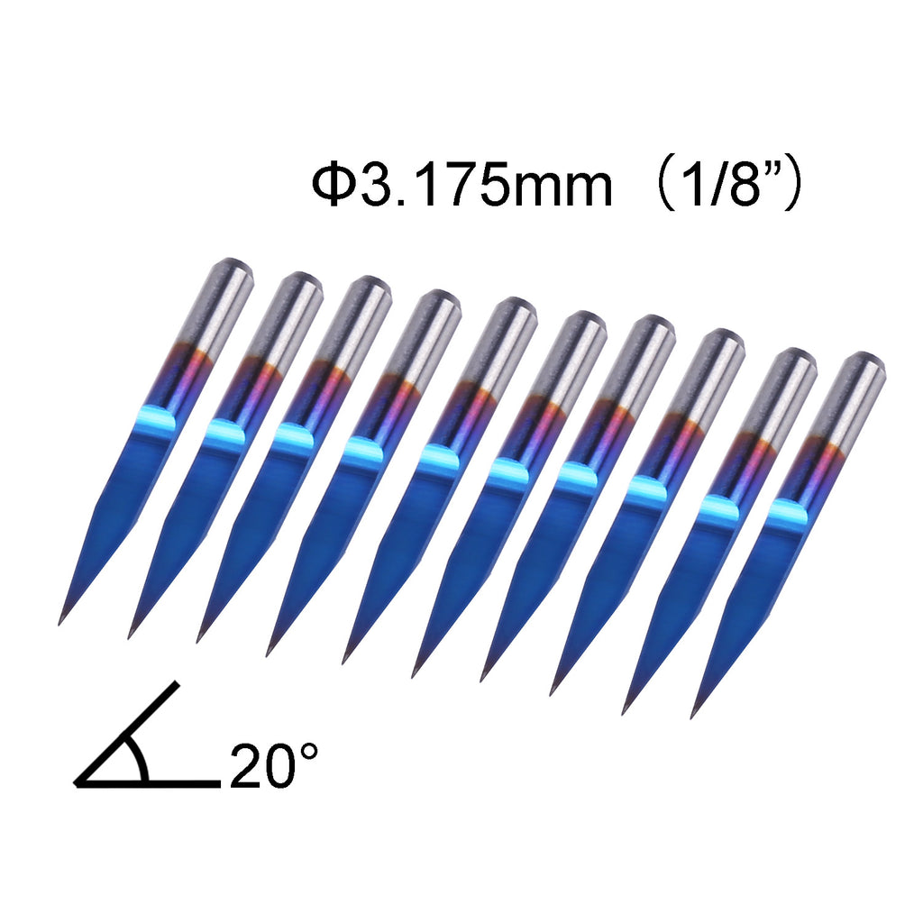 SainSmart Genmitsu Nano Blue Coat Engraving Bits | 20 Degree | 0.1mm