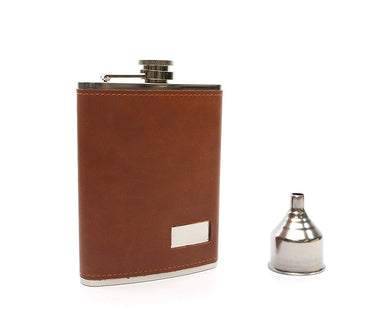Denizli Stainless Steel Alcohol Flask with Funnel (8 Oz, Brown Leather)