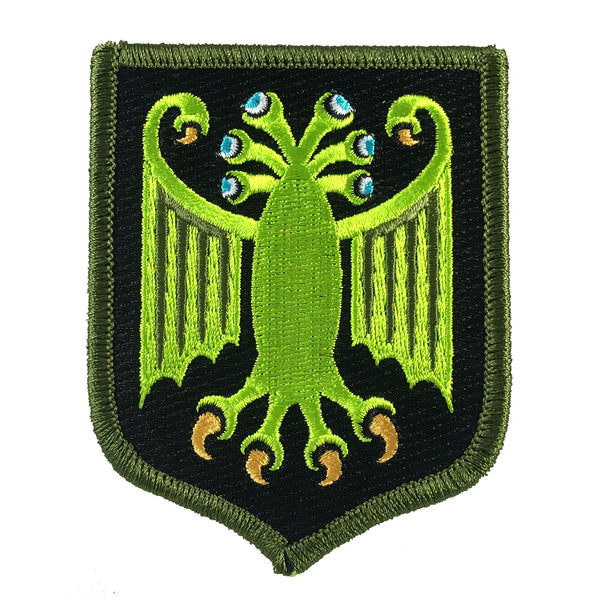 Elder Thing heraldic shield embroidered patch by Monsterologist