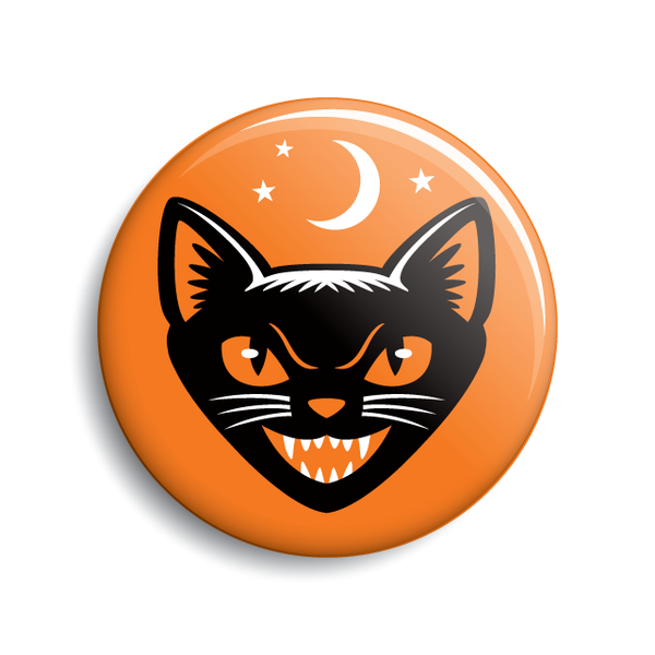 Black cat vintage Halloween pin-back button & magnet by Monsterologist