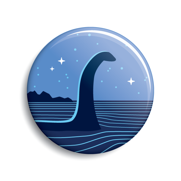 Nessie (Loch Ness Monster) cryptozoology button by Monsterologist