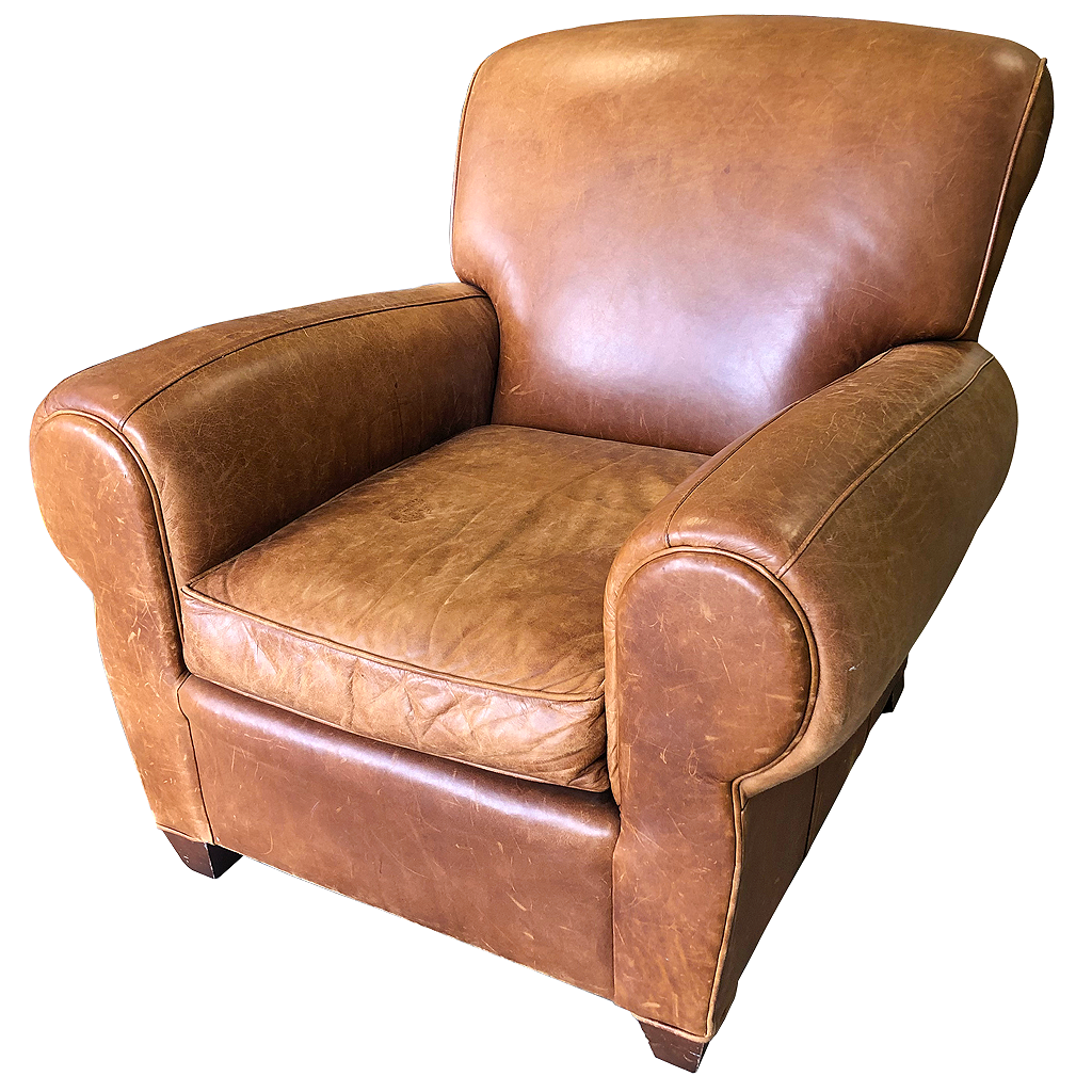 pottery barn caramel colored leather club chair