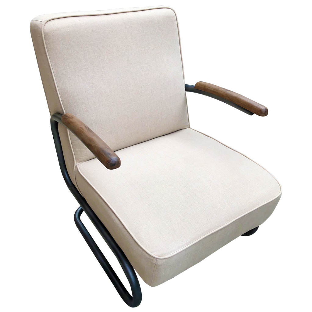 Perth Club Chair in Beige Linen Fabric