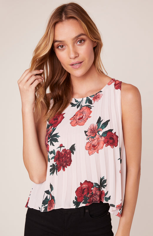 90210 Flow Beverly Hills Print Pleated Tank