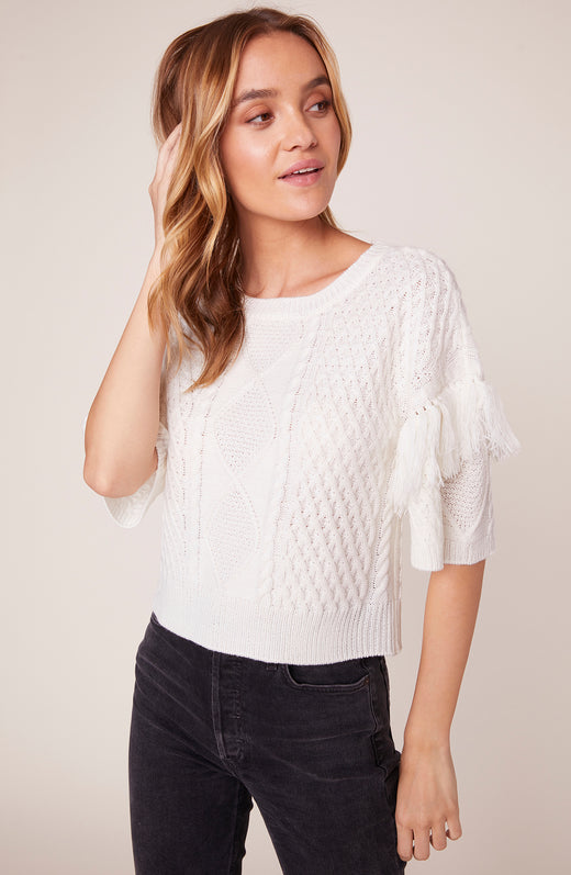 Fringe Out Short Sleeve Cable Sweater with Fringe