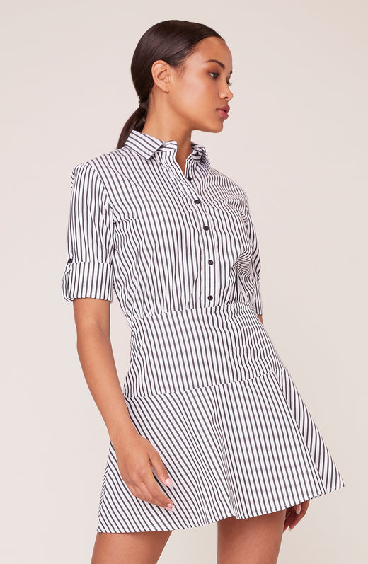 Shirt Notice Stripe Dress with Roll-Up Sleeve