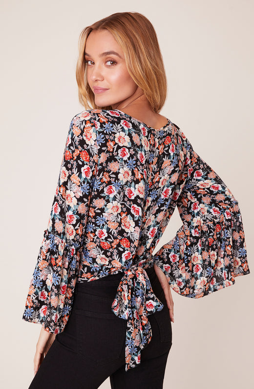 Bouquet You Stay Cropped Top with Tie Back