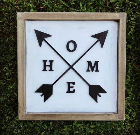 3D HOME with Arrows Lettering - Unfinished