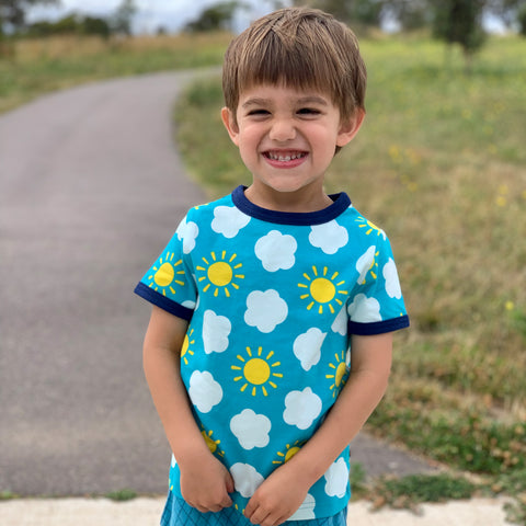 Duns Sweden Organic Dungarees - Strawberry field - Light Turquoise, Overalls, Duns, Baby goes Retro - Baby goes Retro