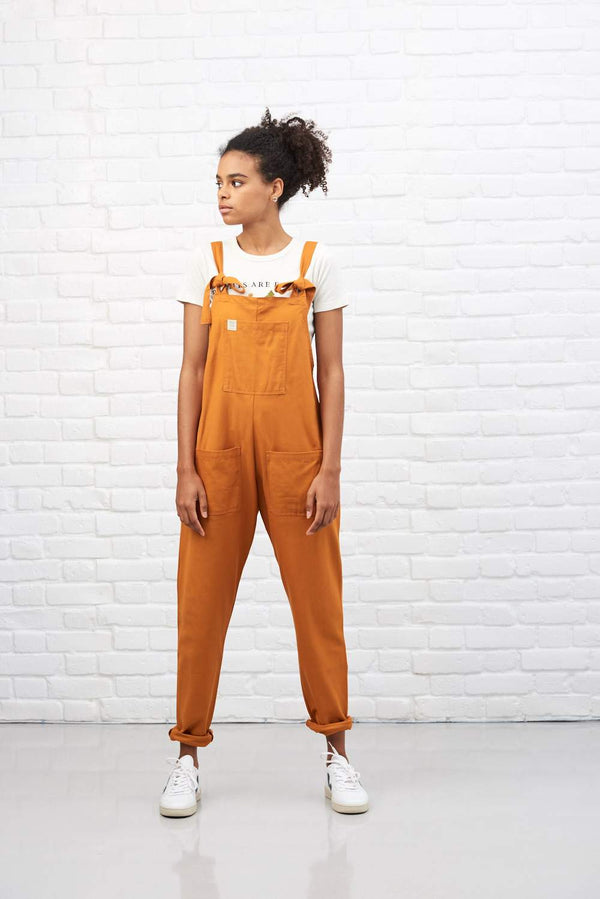 Organic 'Umi' Cotton Dungarees in Rust Orange
