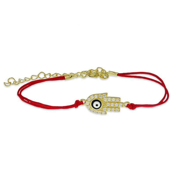 red string hamsa hand evil eye bracelet