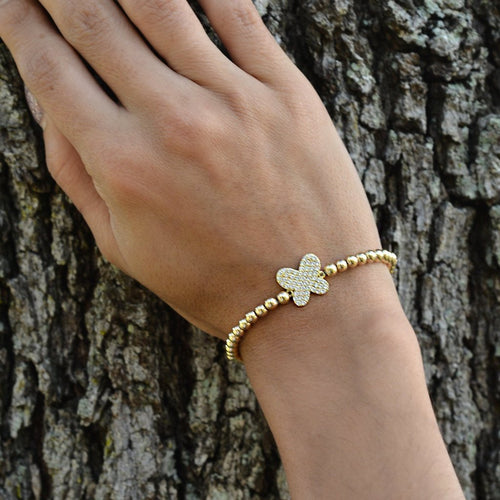 Butterfly, Butterfly Bracelet, Gold Filled, Gold Filled Bracelet, Rose Gold Plated, Sterling Silver, gold filled beads, insect bracelet, nature bracelet, animal bracelet