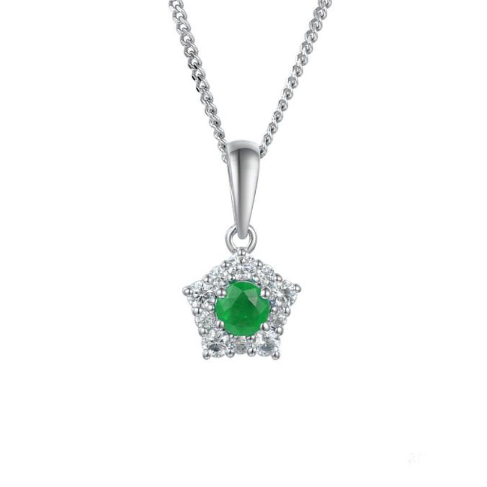Amore Pendant Amore Silver classico cluster pendant with emerald and CZ