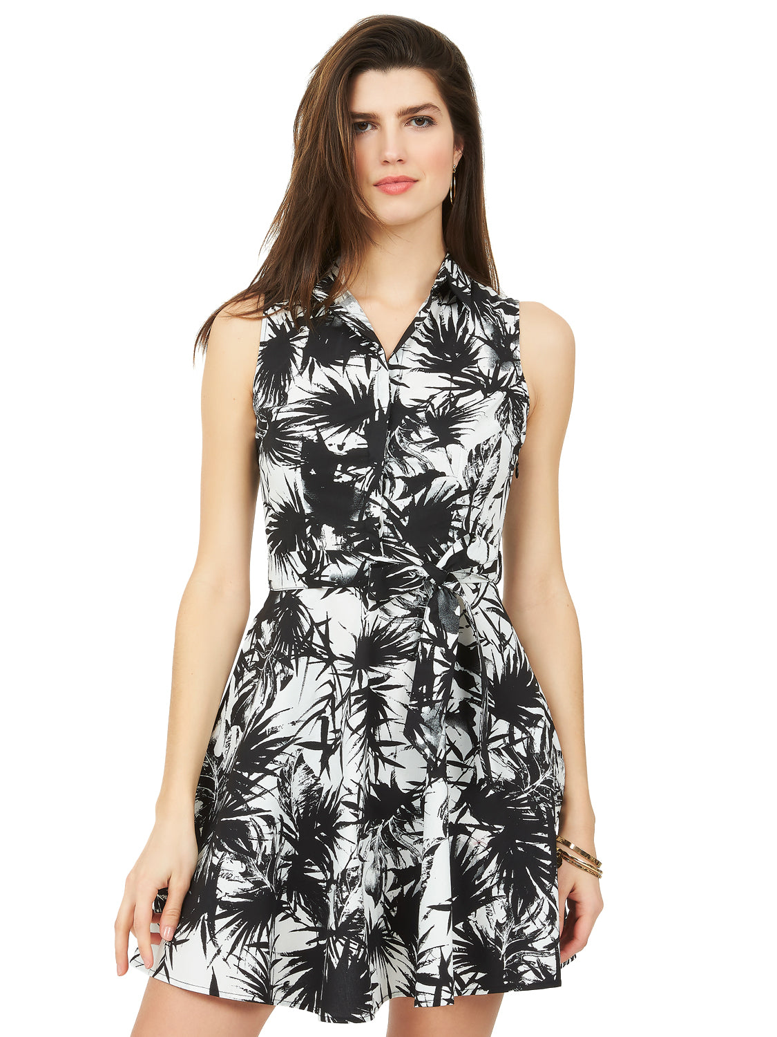 Palm Tree Fit & Flare Dress