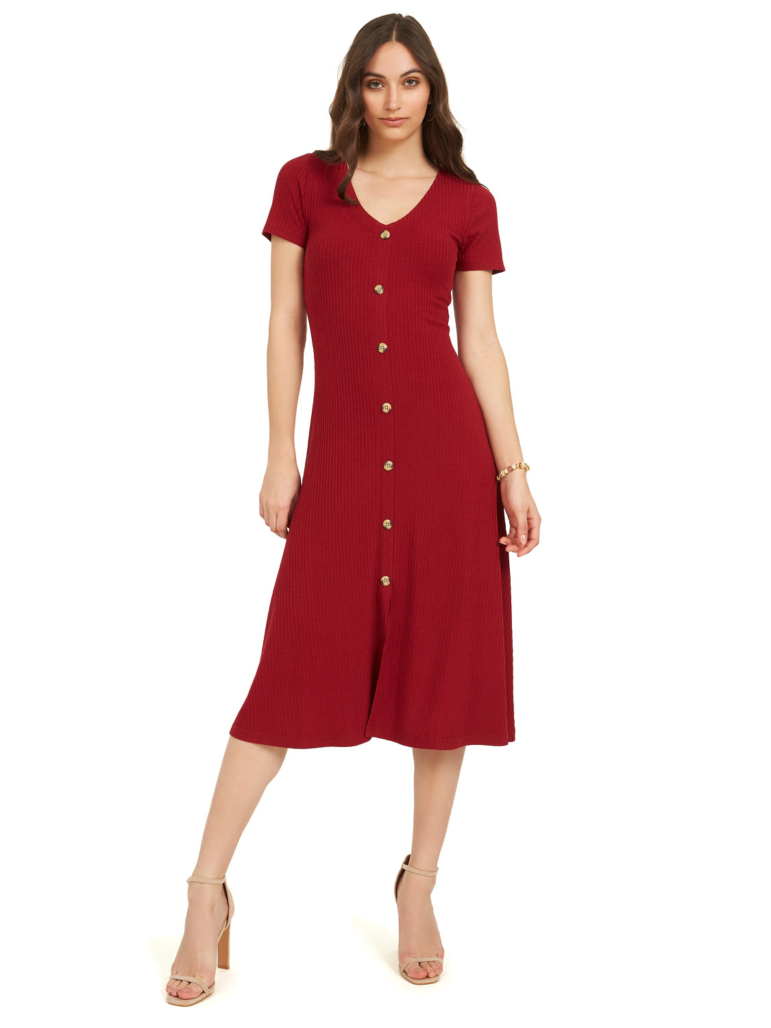 Ribbed Button Short Sleeve Midi Dress