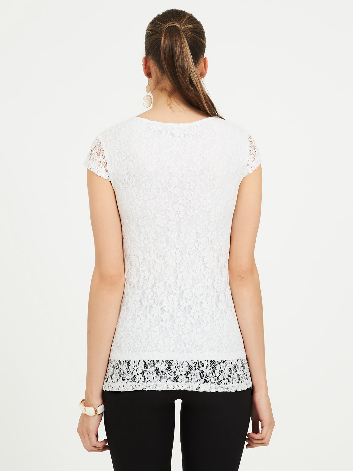 Scoop Neck Lace Cap Sleeve Tee
