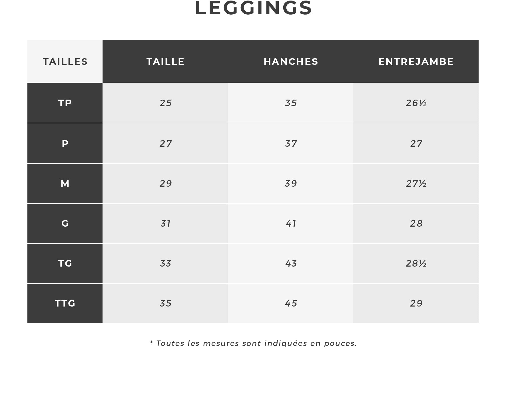 Urban Planet | Guide des Tailles - Leggings