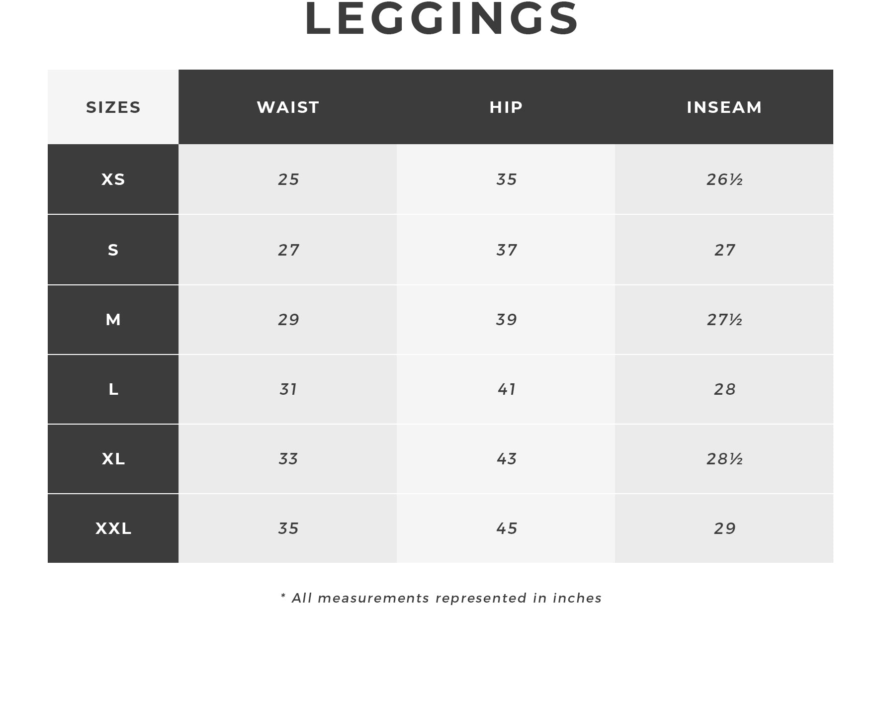 Urban Planet | Leggings Size Chart