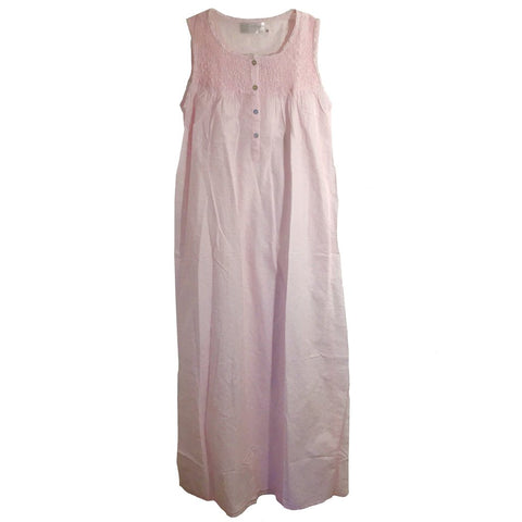 "Victoriana - ""Jamie"" Smocked Pink Swiss Dot Nightgown"