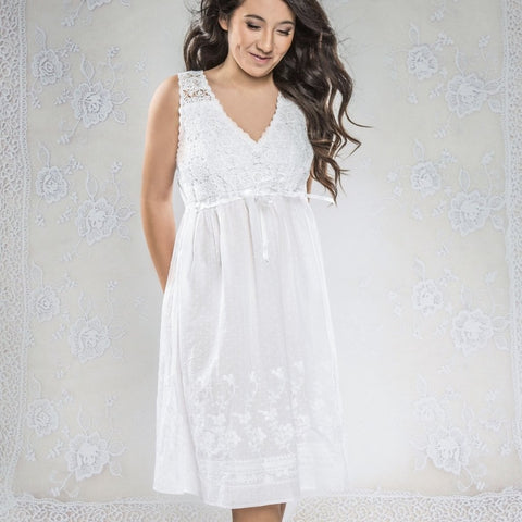 "Victoriana - ""Evelyn"" White Crochet Nightgown"