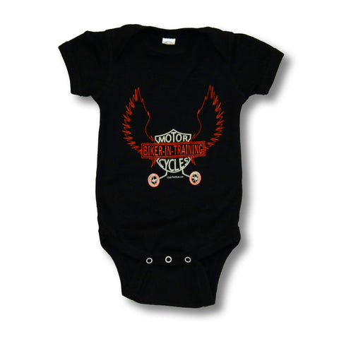 Biker-in-Training (orange print) - Baby onesie
