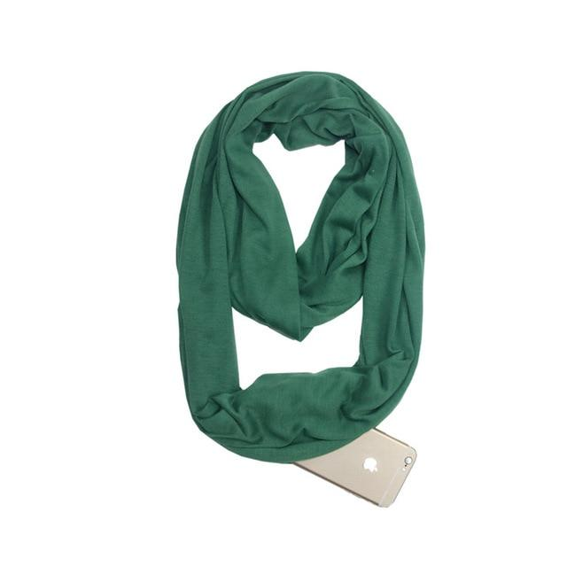 Green Infinity Scarf with Pocket