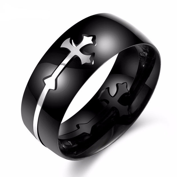 sideways cross ring for men