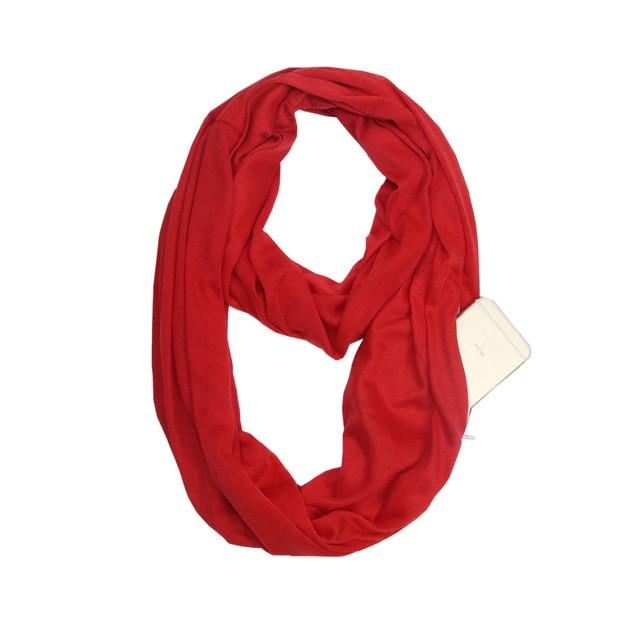 Red Infinity Scarf with Pocket