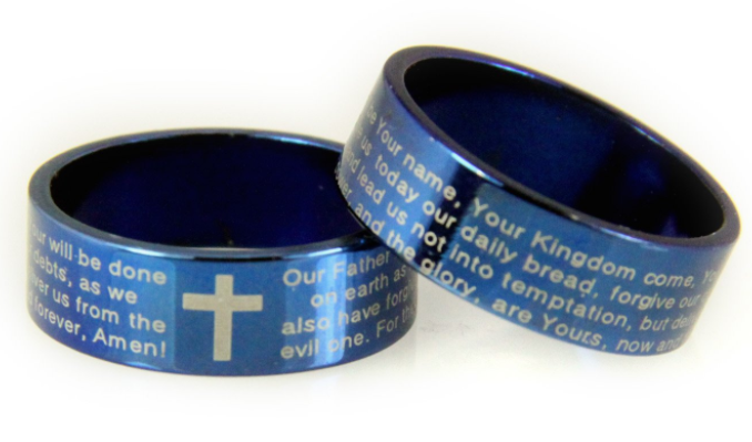 blue bible Lord's prayer cross