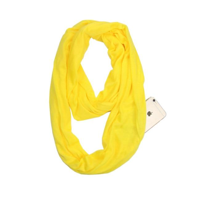 Yellow Infinity Scarf with Pocket