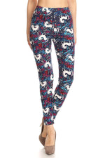 Women's Unicorn Printed Leggings Blue: OS and Plus Leggings MomMe and More