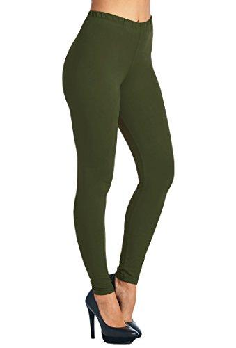 Women's Best Solid Green Soft Leggings: OS and Plus Leggings MomMe and More