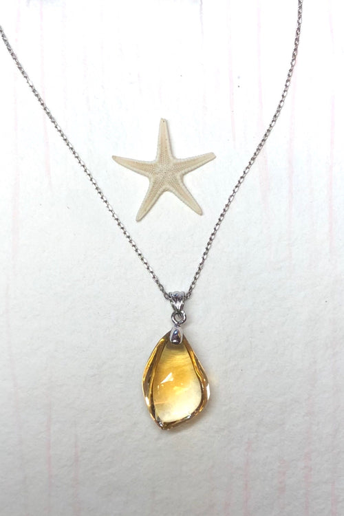 Pendant of Citrine on a Silver Chain a.