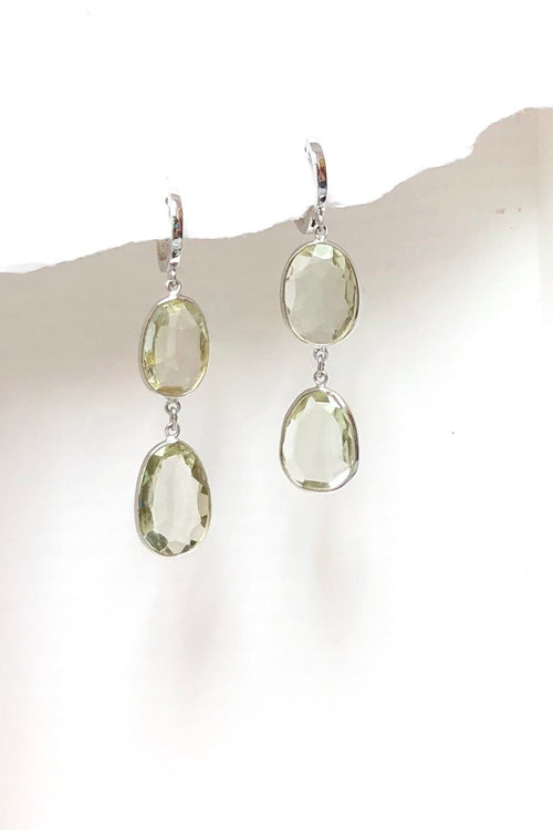 Earrings Trina in Silver and Pale Mint Quartz