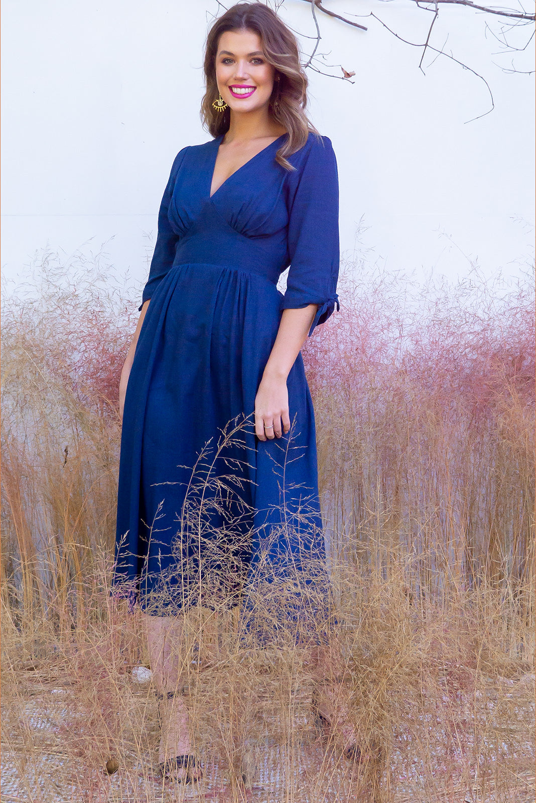 Henrietta French Navy Midi Dress - Women's Navy linen midi dress with pockets. Perfect for maternity, plus size, curvy, tall, petite, breastfeeding. Linen/Rayon blend. Fitted waist and flowing skirt. Vintage style. Perfect wardrobe staple. Great for day to day, night out, date night etc. Designed in Brisbane Australia