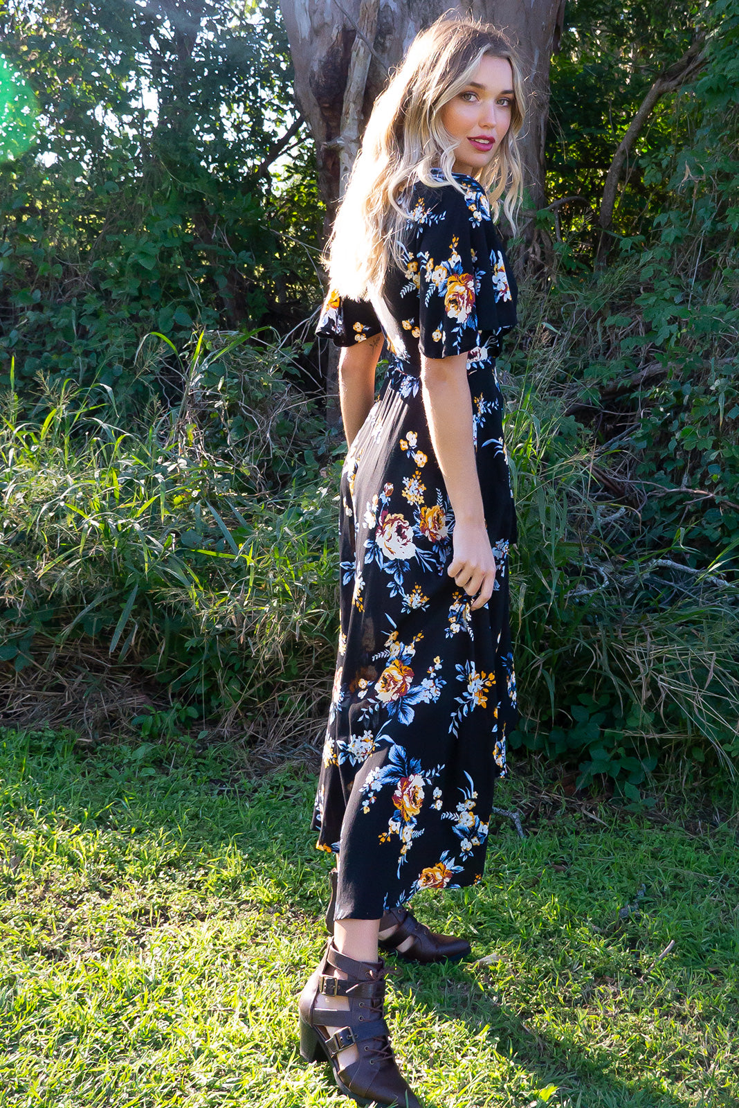 Petal Winter Nights Maxi Wrap Dress - Women's black floral rayon maxi wrap dress. Perfect for maternity, plus size, curvy, tall, petite, breastfeeding. Flowing design featuring bright contrasting print. Vintage style. Great for day to day, night out, date night etc. Designed in Brisbane Australia