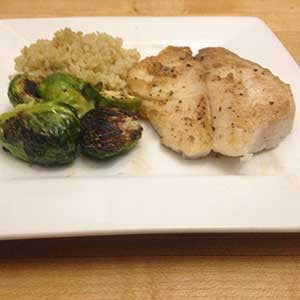 Pan Fried Cod Amp Brussels Sprouts With Quinoa Skillit