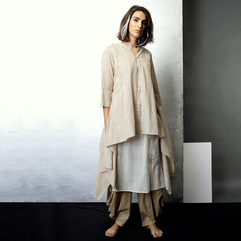 Contemporary Sustainable Fashion from Indian designer wear label O Layla. Ameya  jacket is an Asymmetric 3 piece set. Handloom textiles.