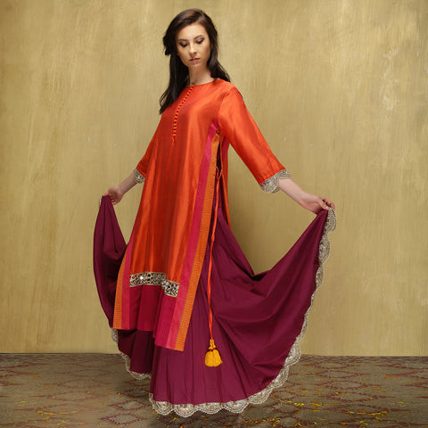 Parvati Maxi - Dark Orange and Magenta