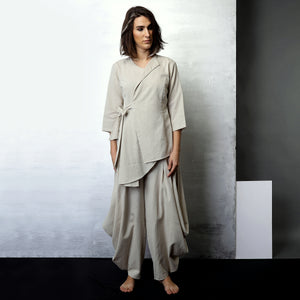 Contemporary Sustainable Fashion from Indian designer wear label O Layla. Mima jacket top with Goro dhoti pant. Handloom textiles.