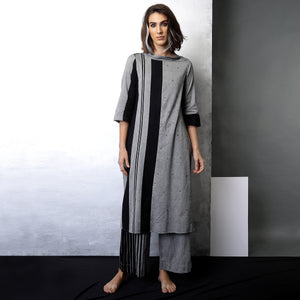 Contemporary Sustainable Fashion from Indian designer wear label O Layla. Misa tunic pant set. Handloom textiles.