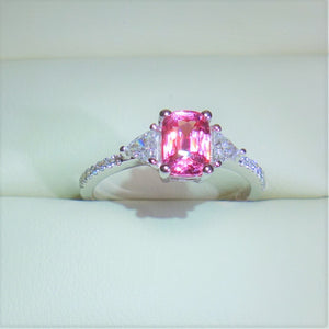 1.065 ct Padparadscha Sapphire and .50 Diamond 18kwg Engagement Ring. GIA Certified