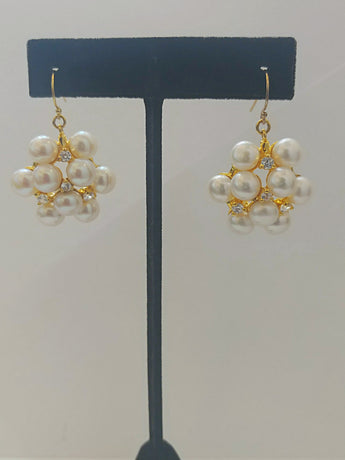 Cluster Band Gold Earrings - Vedazzling Accessories