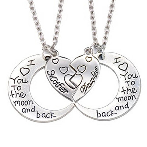 "2pcs/set New Creative Broken Heart 2 Parts Pendant Necklace Heart Mother Daughter Necklace ""I Love You To The Moon And Back"""
