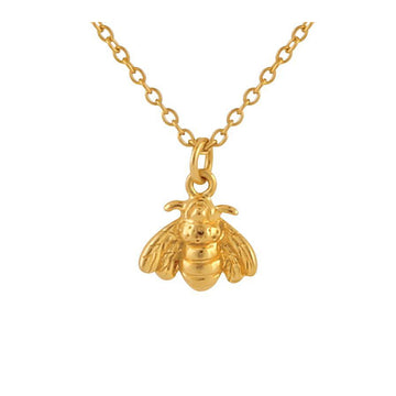 Gold chain necklace with bee charm