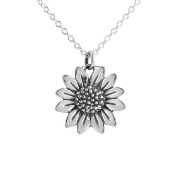 Silver chain necklace with sunflower pendant