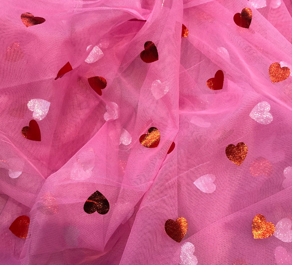 Red Hearts on Pink - Clearance Item (discount does not apply) - Fancy Pants Fabrics