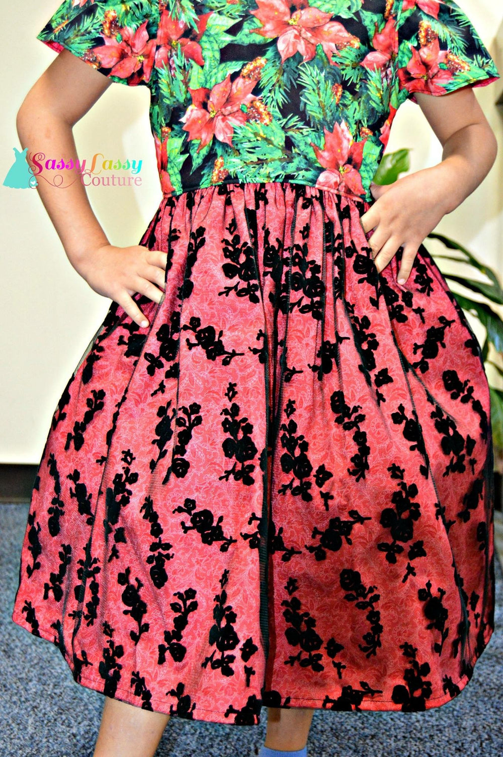 Black Floral Flocked Tulle - Clearance Item (discount does not apply) - Fancy Pants Fabrics