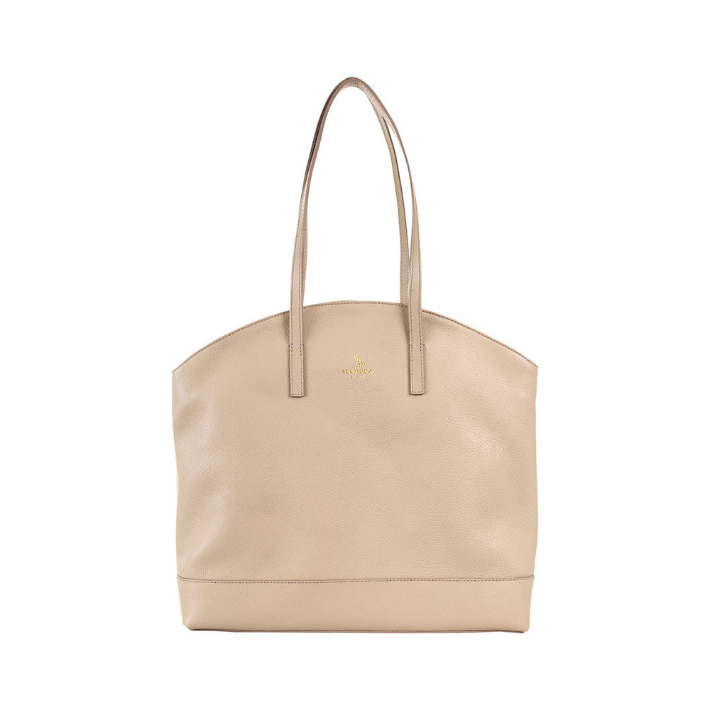 Beige Large Pebble Leather Warwick Tote Handbag UK - Bermuda Born