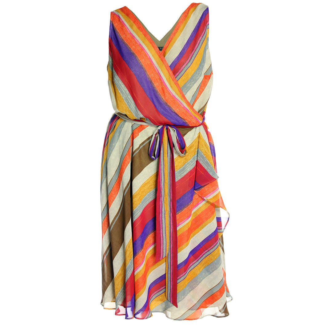 Ralph Lauren Multi Color Striped Sleeveless Wrap Dress